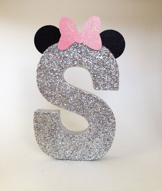 Minnie Mouse Glitter Stand Up Letter Initial Monogram Wedding