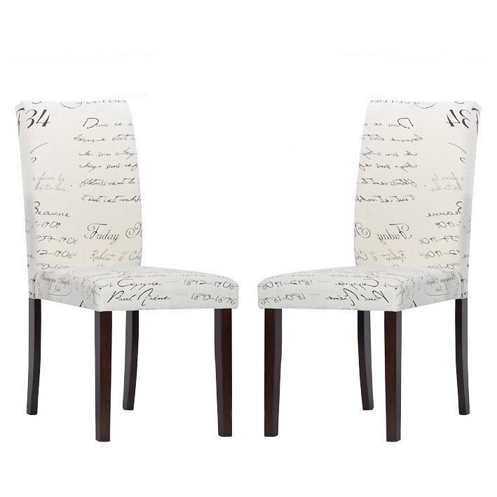 Cream French Script Fabric Modern Dining Chairs Old Style Text