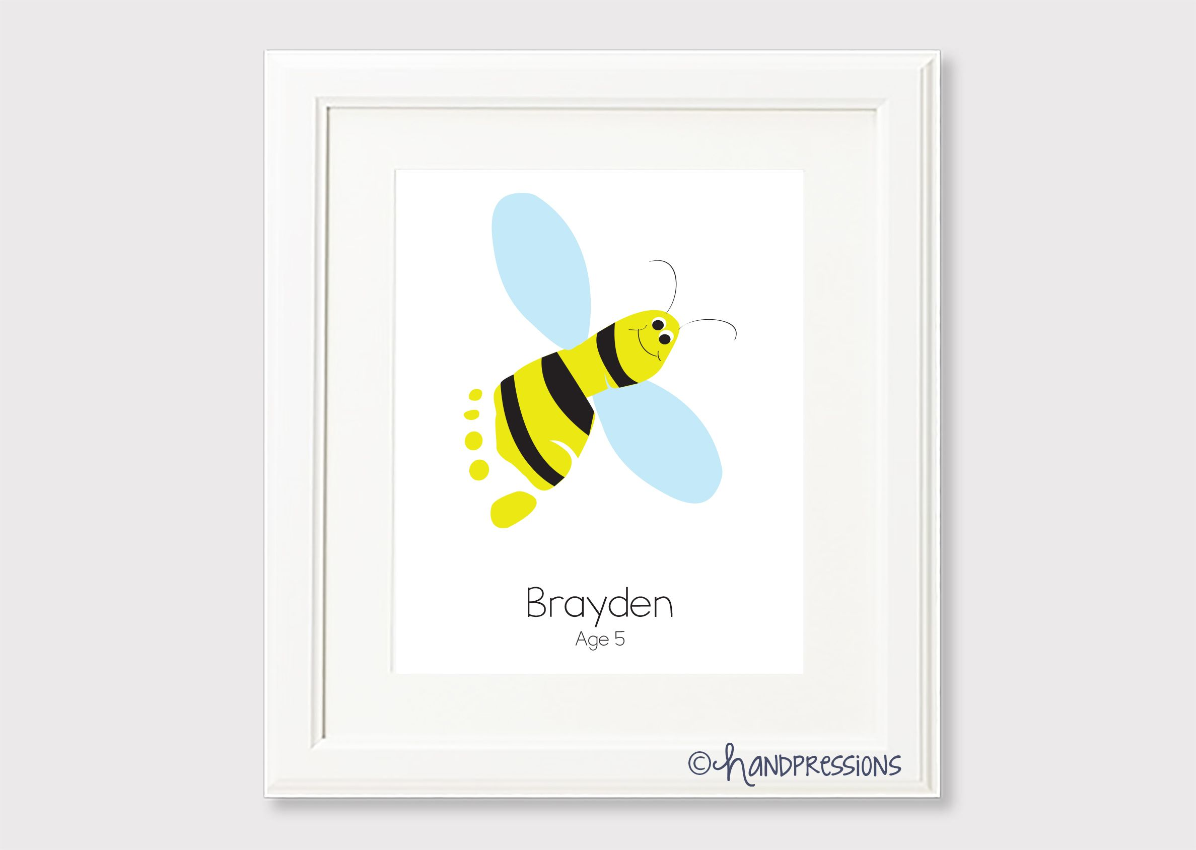 Bumble Bee Footprint Wallart Made With Your Childs Own Footprints Perfect For Nursery Or