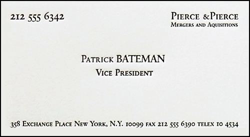 Patrick bateman business card gallery business card template patrick bateman business card choice image business card template patrick bateman american psycho business card cinema wajeb Choice Image