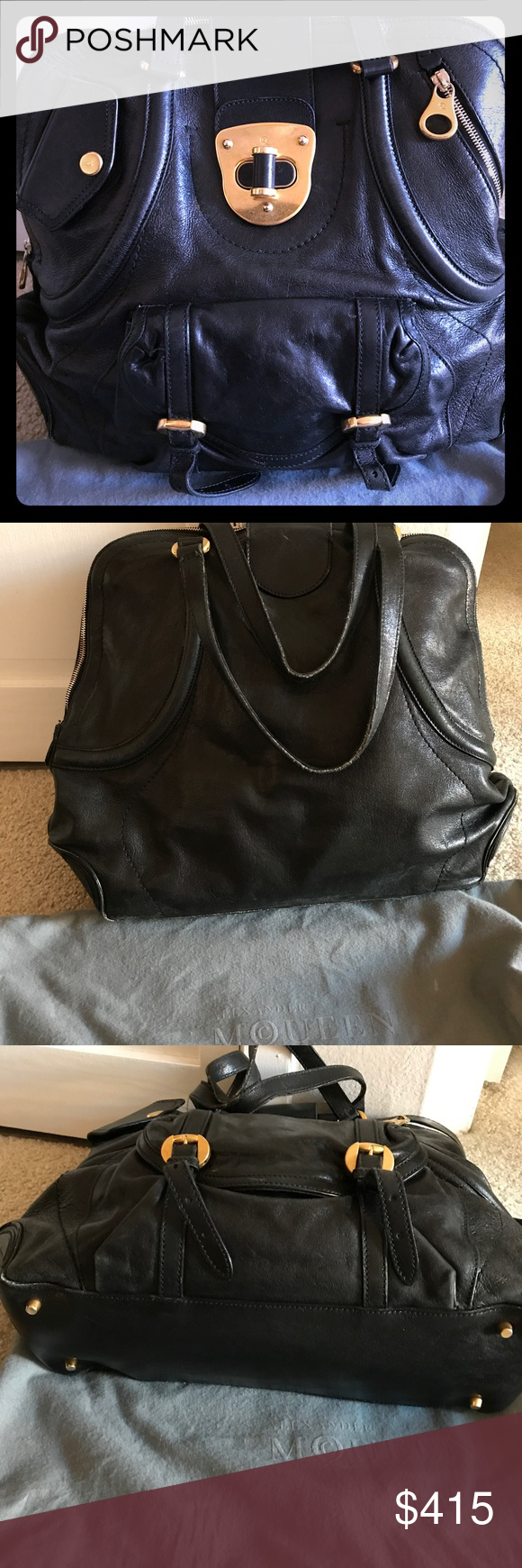 Alexander McQueen Handbag Gently used black bag with gold hardware! Very sturdy and spacious. Alexander McQueen Bags Shoulder Bags