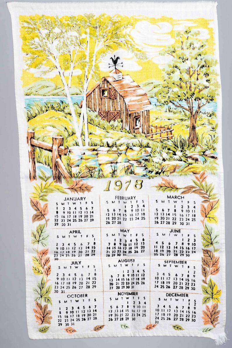 1978 Linen Barn Tea Towel Calendar Tea Towels Barn Cat