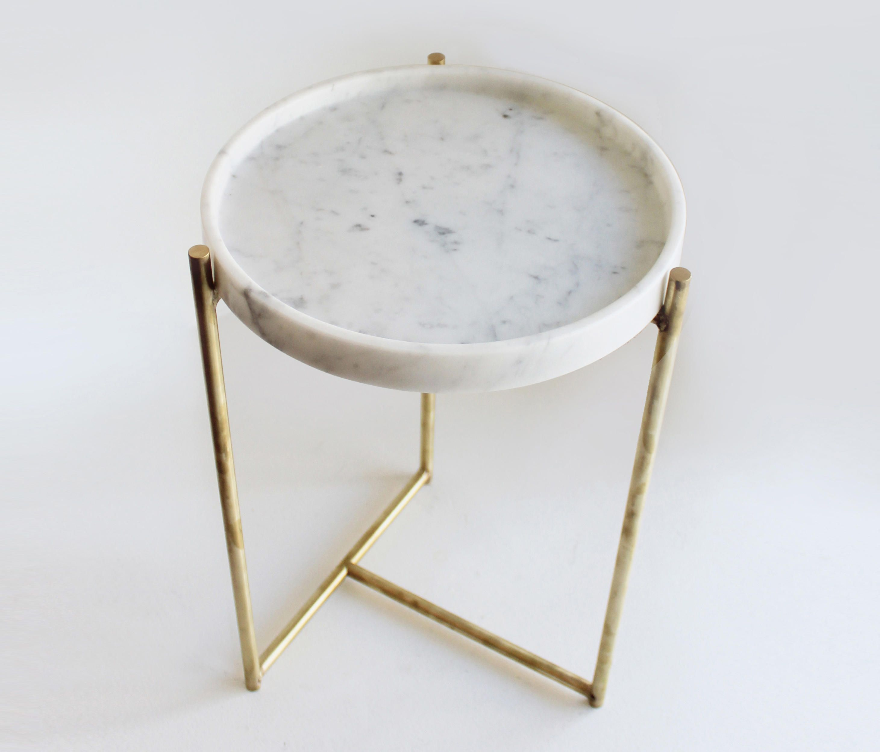 Marble And Gold Margaux Laptop Table: OLIVER MARBLE TRAY SIDE TABLE BRASS