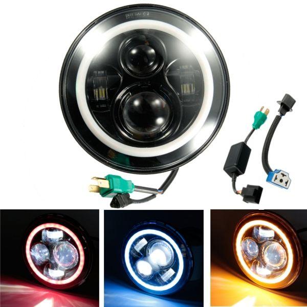 "6.5/"" LED Projector Headlight Hi//Lo Angel Eye Bracket For Harley"