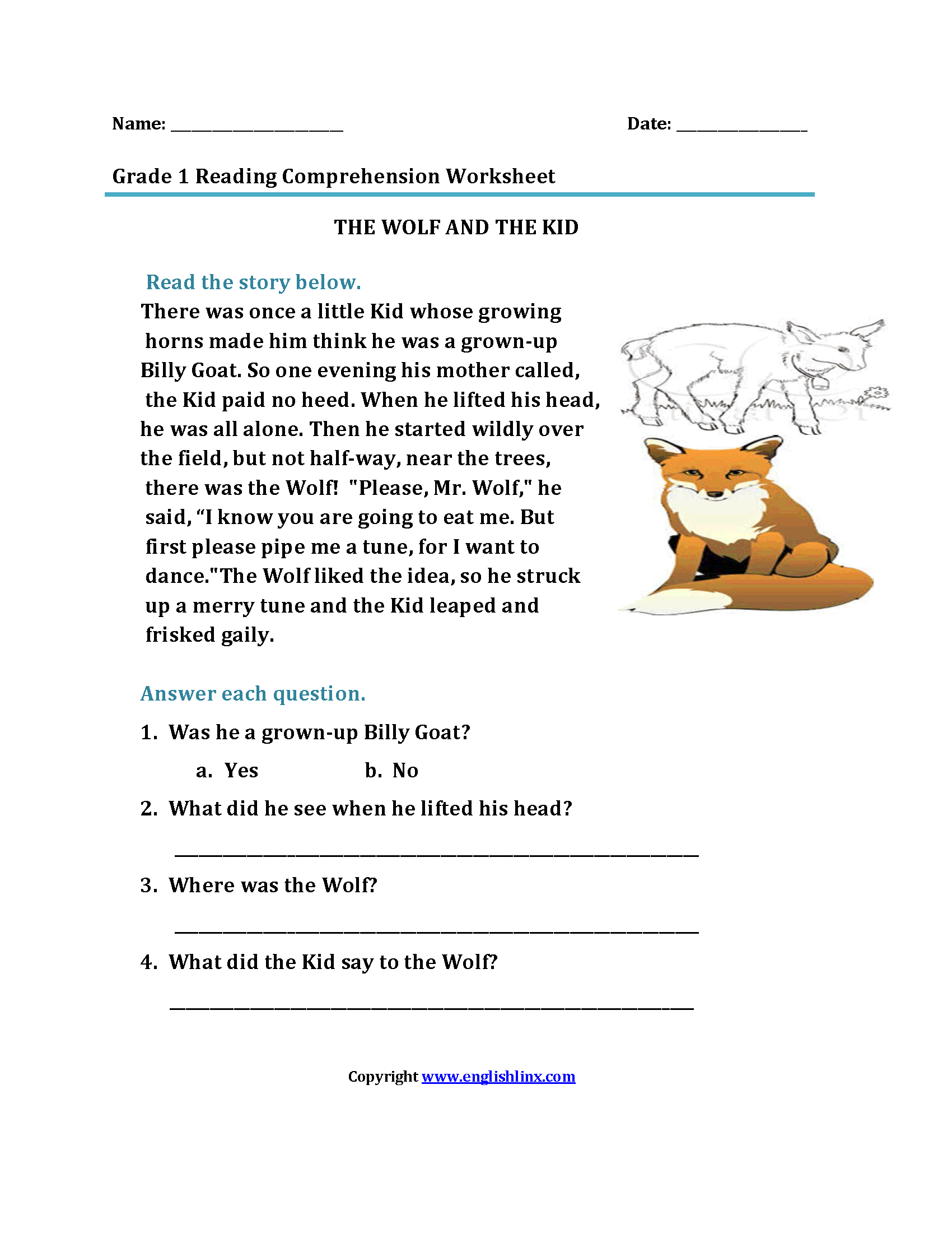 The Wolf And Kid First Grade Reading Worksheets