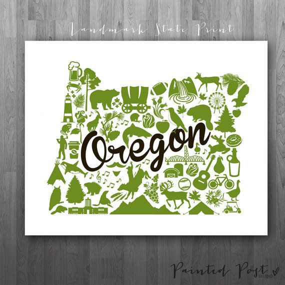 Portland Oregon Landmark State Gicl E Print 8x10 By Paintedpost Paintedpoststudio