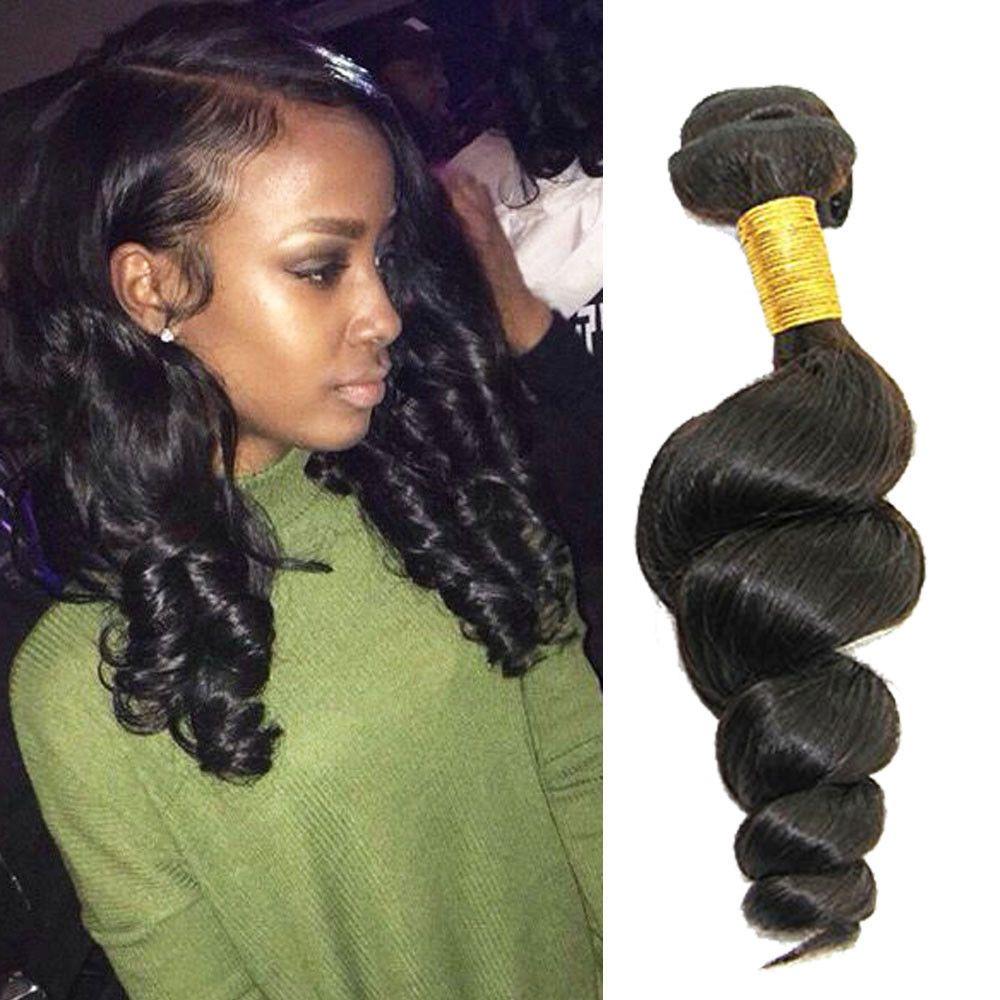 Brazilian 14 300g Real Human Hair Extension Black Loose Wave Hair