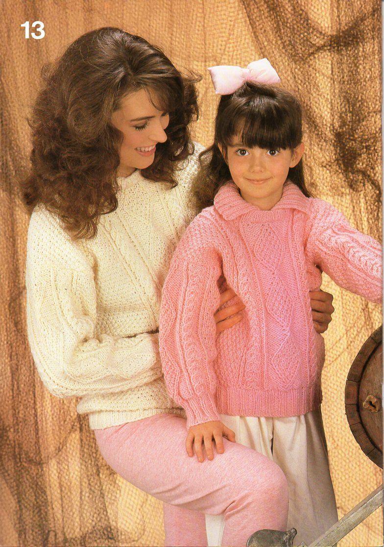 09f2f8d7b womens childrens aran collar sweater knitting pattern pdf ladies collared  cable jumper 26-40