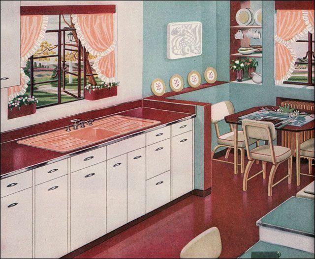 Vintage Home Interiors   1940s Home Interiors 1947 American Standard Kitchen Mid Century