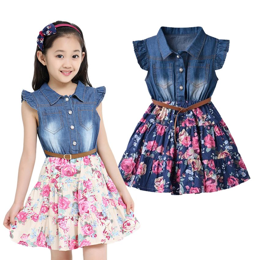 Summer Dresses For Girls Cotton Children Clothing Denim Baby ...