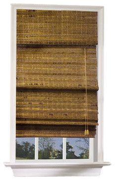 Havana Bamboo Roman Shade in Pecan Finish (23 - contemporary - Window Blinds - ivgStores
