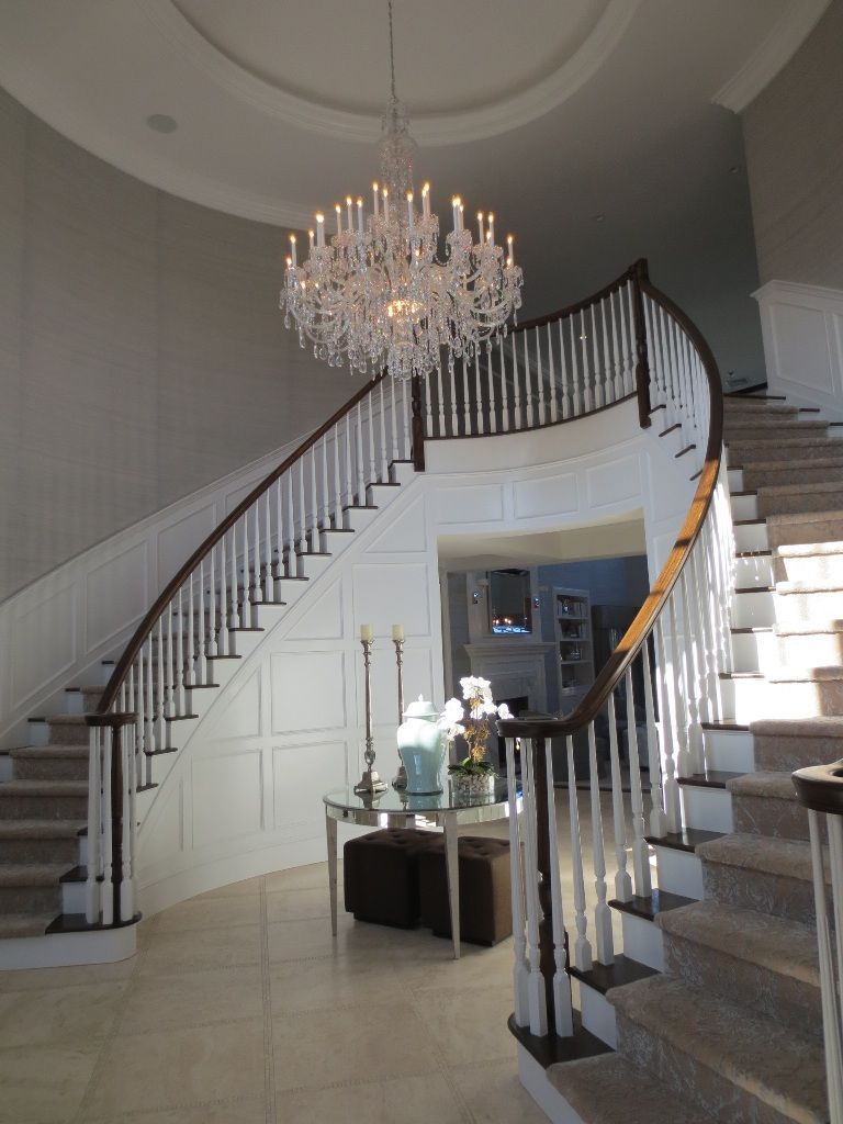 Interior Fascinating Large Chandeliers For Foyer Lighting Low Ceiling Linear Light Beautiful Stair White Wall Painting From Decorate Your