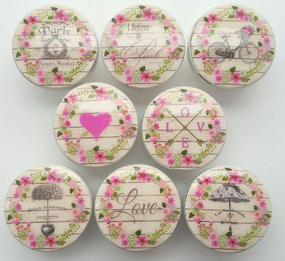 Drawer Knobs France Shabby Chic Cottage French Pink Wreath Flowers