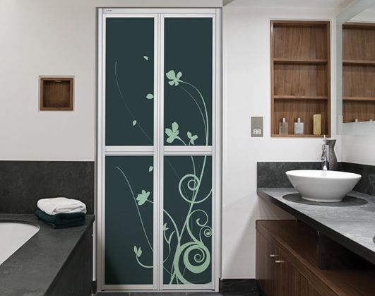 Aluminium Bifold Bathroom Doors For Small Spaces With Flower