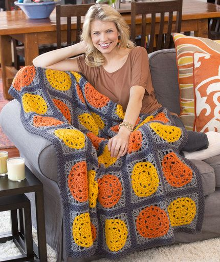 Let the Sun Shine Throw Free Crochet pattern from Red Heart Yarn