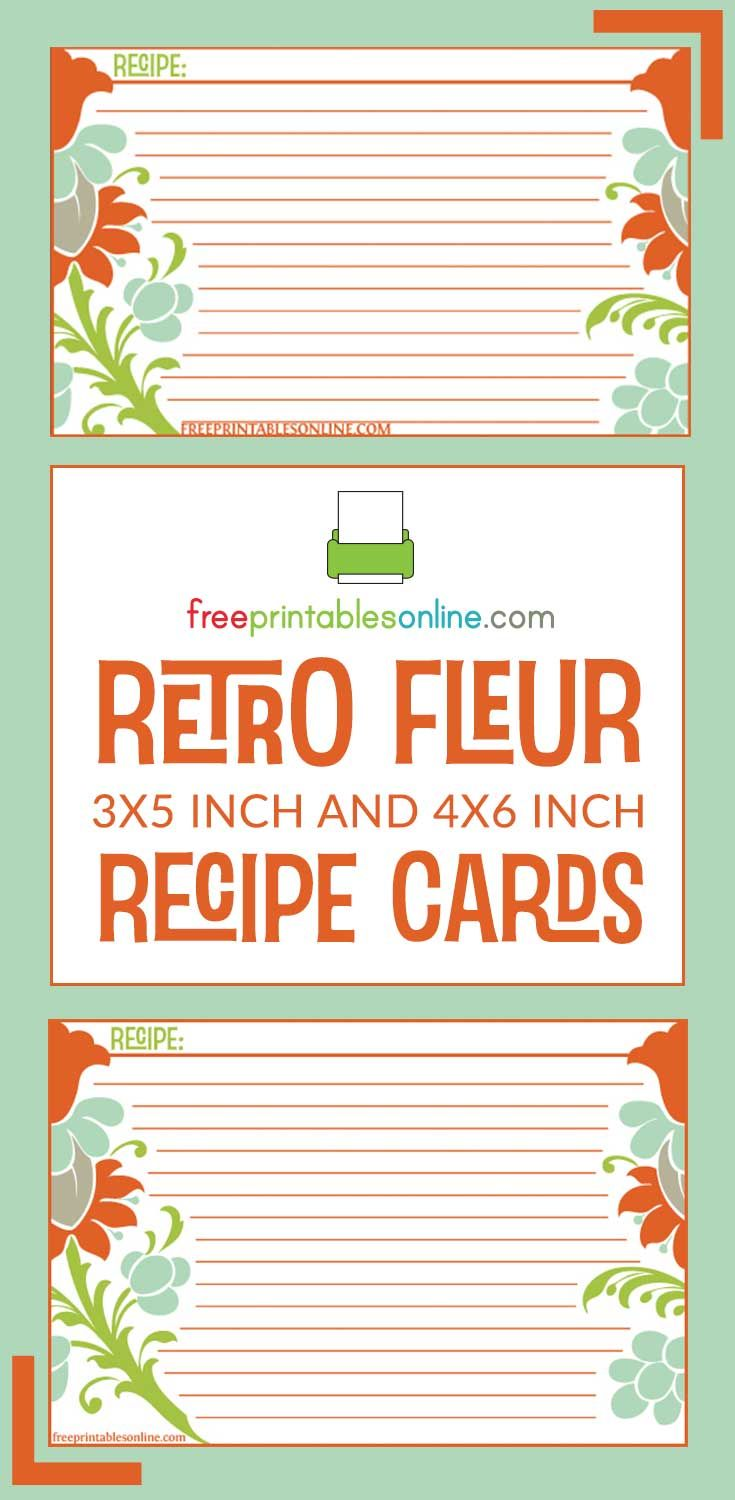 Retro Fleur Recipe Card Template Free Printables Online Recipe Cards Template Recipe Cards Printable Recipe Cards