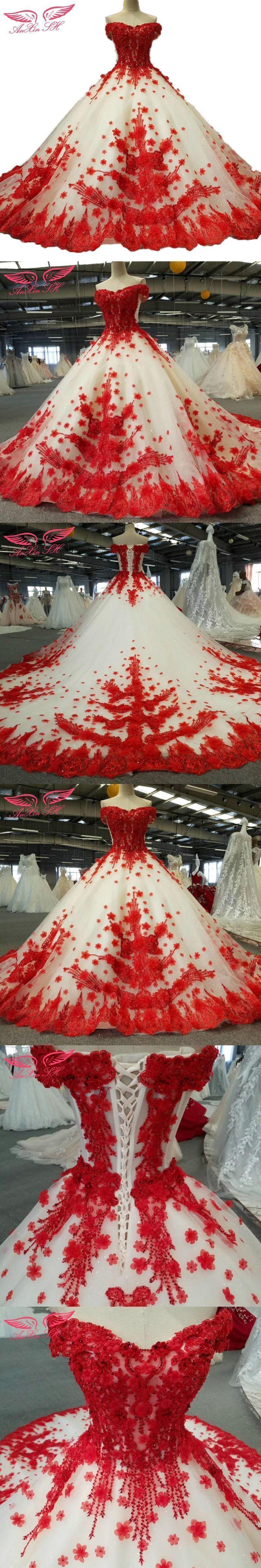 Anxin sh lace red wedding dress princess flower red wedding dress