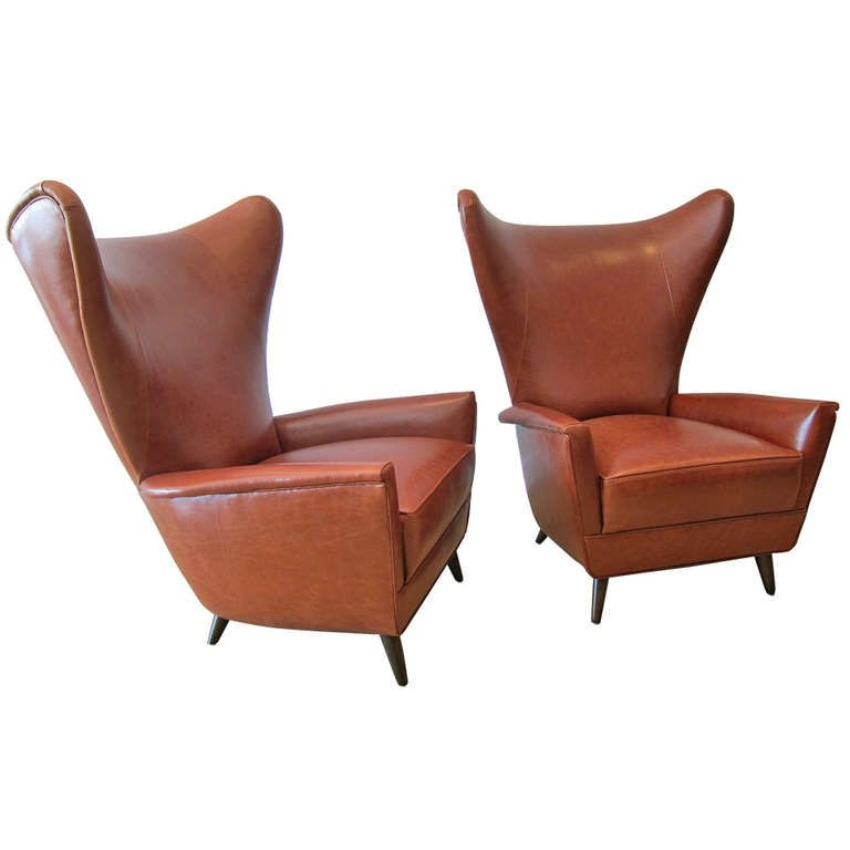 Pair Of Italian Wing Back Lounge Chairs Newly Uphd In Tobacco Leather Ca1950s Retro FurnitureLiving Room