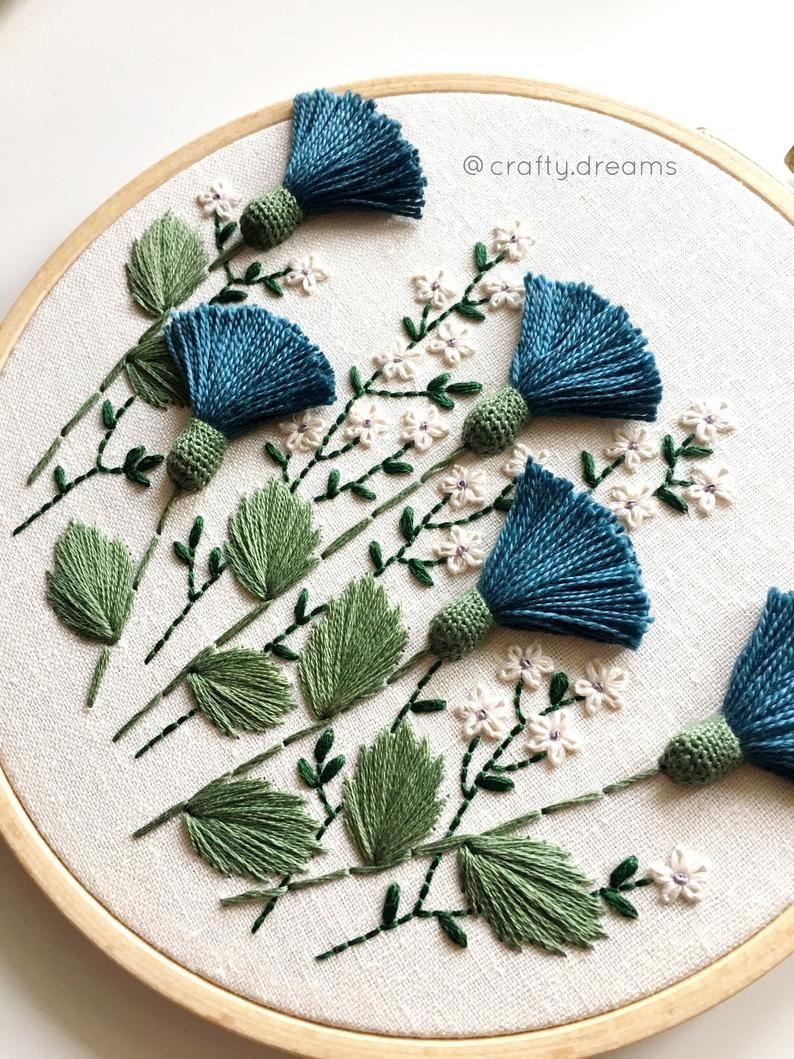 Blue thistles embroidered hoop, Floral hoop, 6″ wild flowers hoop
