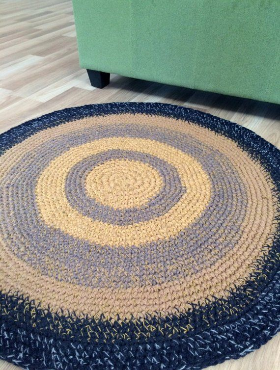 Hand Crochet Round Rug 34 Inches In