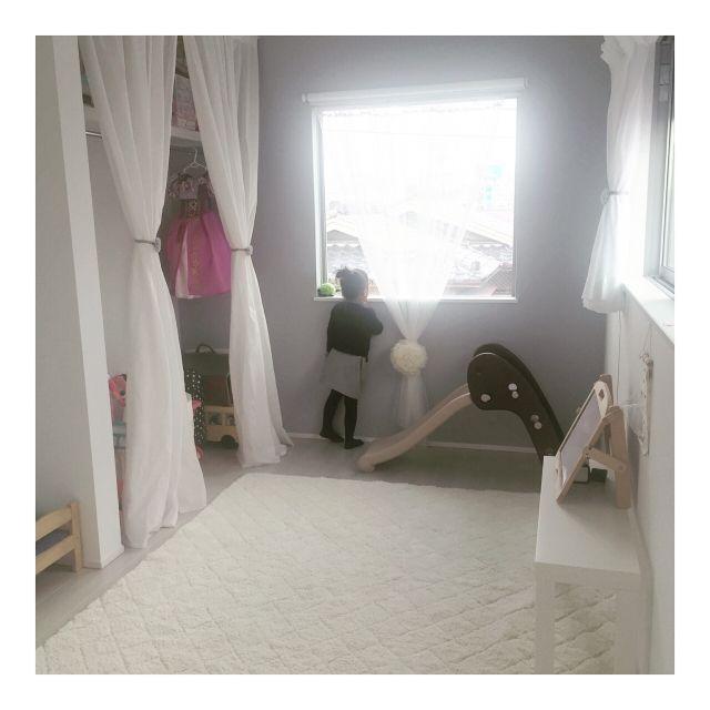 キッズスペース 滑り台 アクセントクロス カーテン Ikea などのインテリア実例 2016 12 09 22 13 27 Roomclip ルームクリップ 子供部屋 カーテン 部屋 インテリア 子供部屋