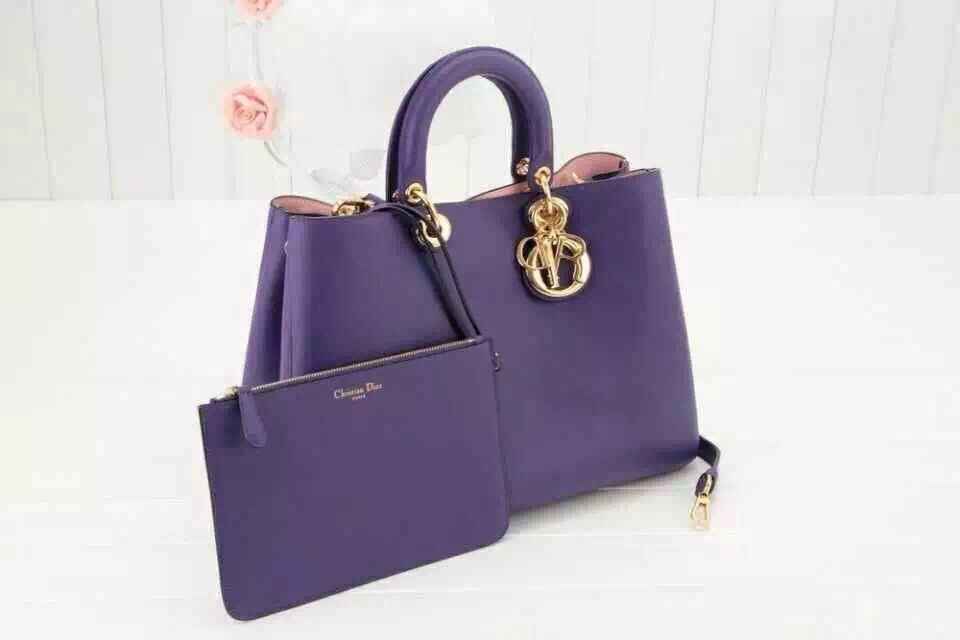c10129d6ccd0 Dior Diorissimo Medium Bag in Purple Smooth Leather