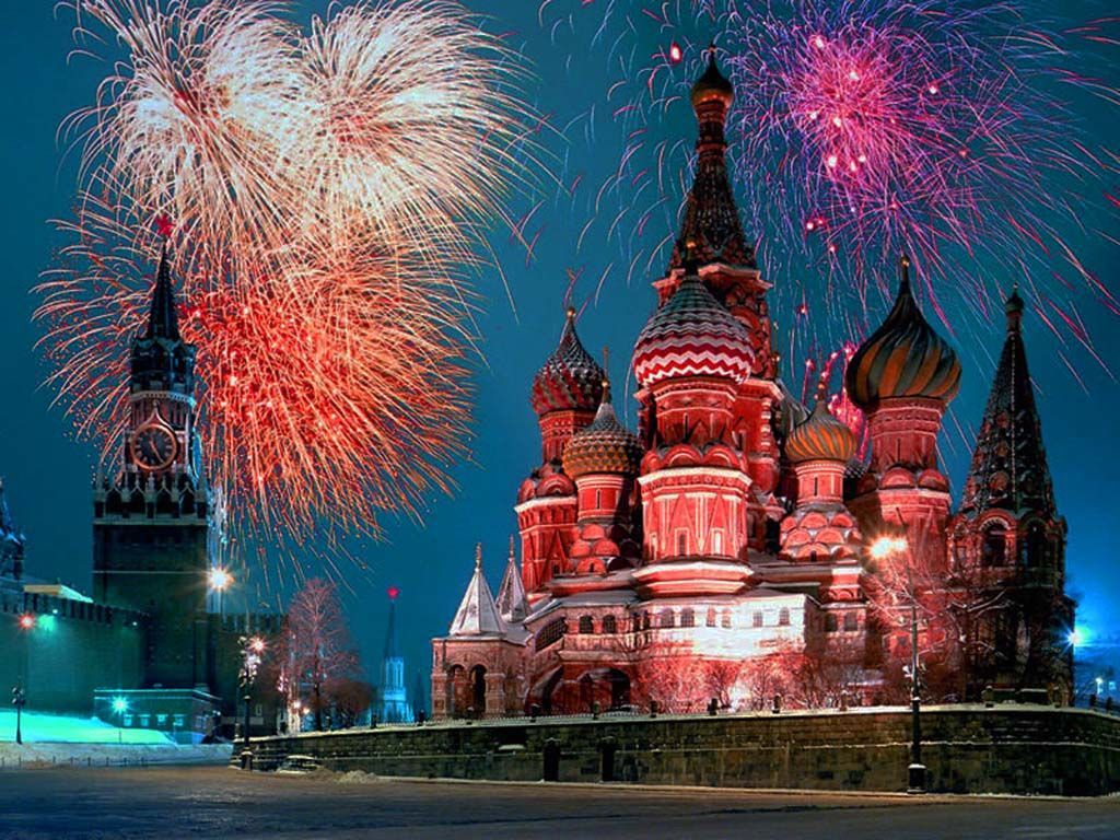 fireworks over moscow in winter