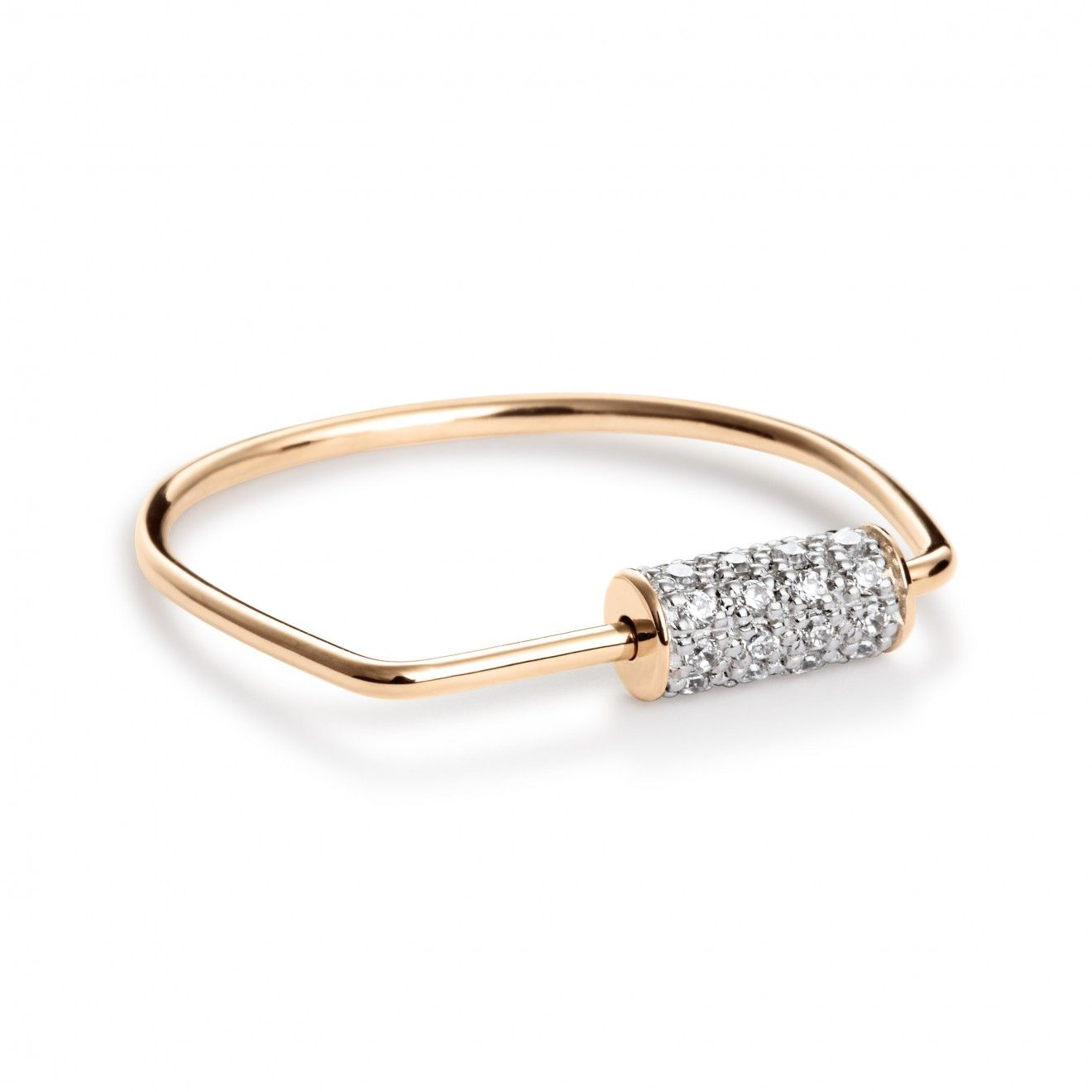 Mini Straw Diamond 18-karat rose gold necklace Ginette NY zxYxN