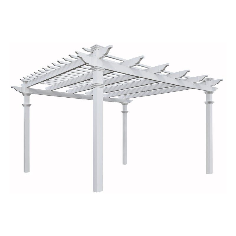 Regency 12 Ft W X 12 Ft D Vinyl Pergola In 2020 Vinyl Pergola Pergola Concrete Patio