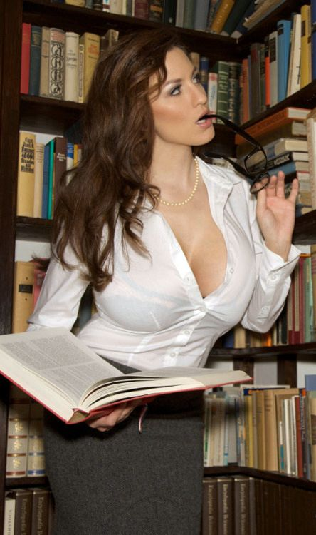 Busty librarian in see-through blouse