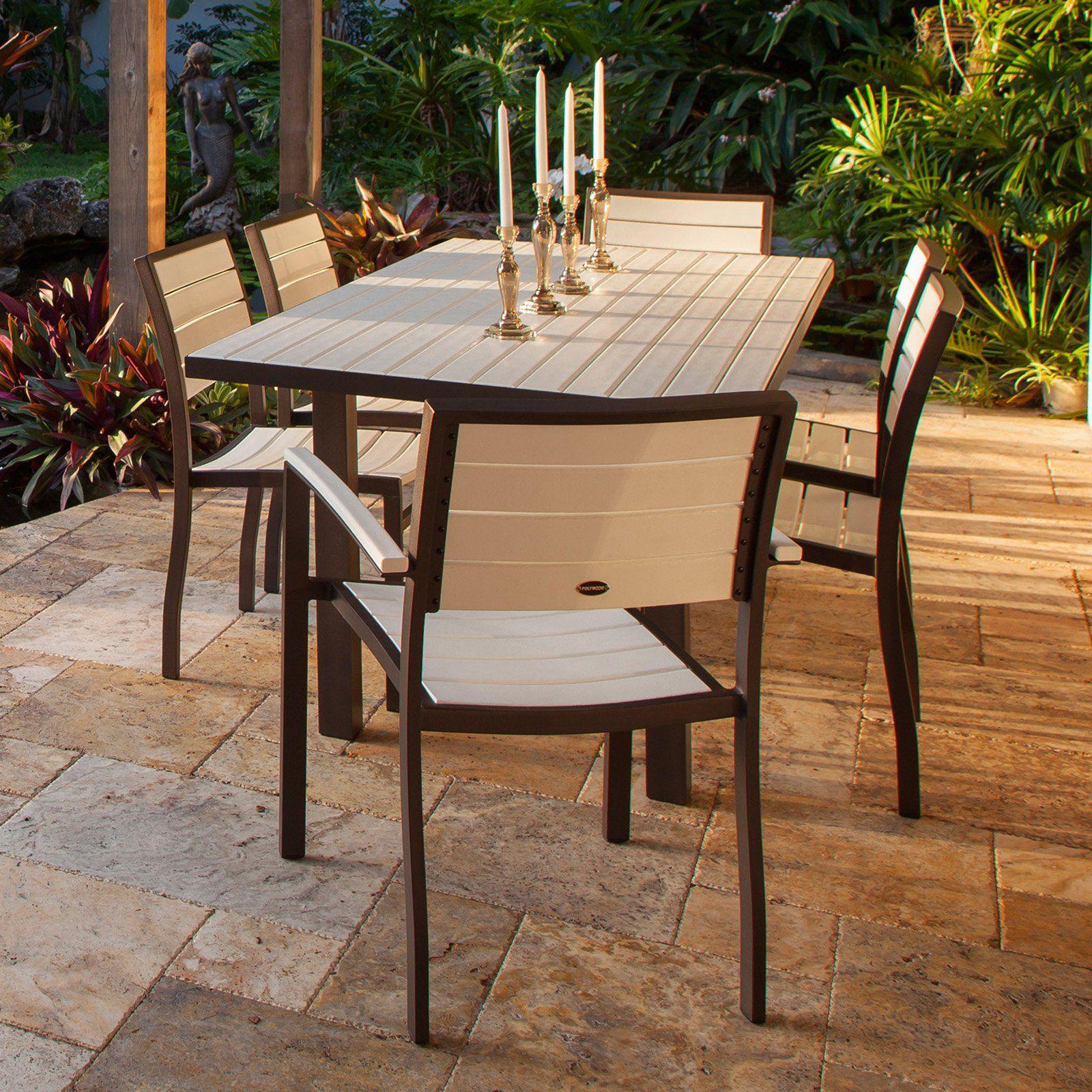 Polywood Euro Dining Set With Aluminum Frame Seats 6 Patio
