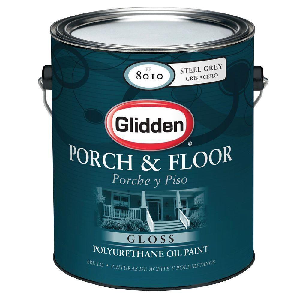 Glidden Porch And Floor 1 Gal Steel Gray Gloss Interior Exterior Polyurethane Oil Paint In 2020 Porch And Floor Enamel Porch Flooring Glidden
