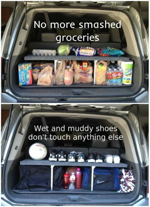 Hack your SUV's trunk space by making it double-decker. This DIY shelf helps organize cargo, and folds up when not in use. See more at Instructables »