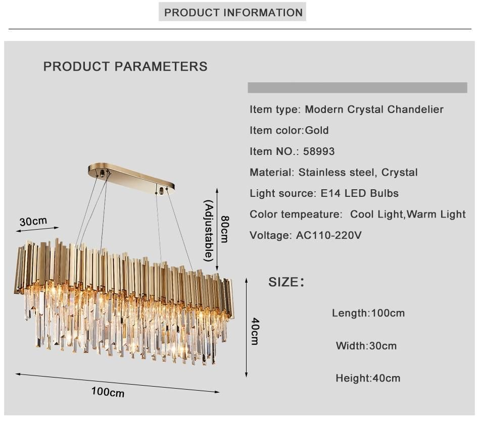 Gold Plated Stainless Steel Crystal LED Modern Chandelier