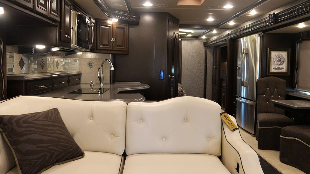 The Grand Tour Interior Includes A Stainless Steel Residential Size Refrigerator And Java