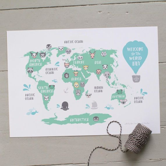 Personalised world map new baby gift kids world map babies personalised world map new baby gift kids by smalldotsdesign gumiabroncs Image collections