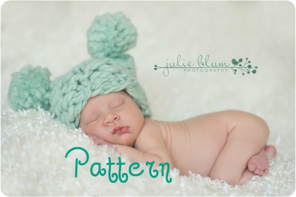 Knitting Patterns For Photography Props : Pom hat knitting pattern thick and thin chunky square
