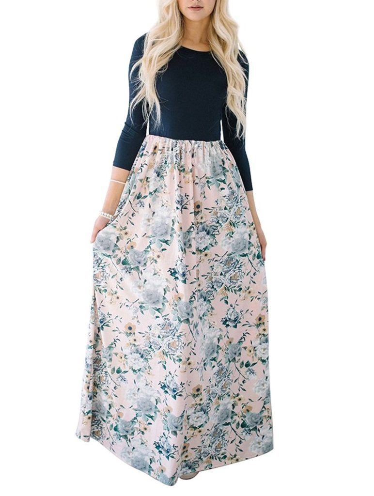 Mirol Women S Spring Floral Printed High Waist Party Maxi Dress 3 4 Sleeves Long Dress With Pockets Shop2online Best Woman S Fashion Products Designed To Prov Womens Maxi Dresses Dresses Maxi Dress [ 1024 x 772 Pixel ]