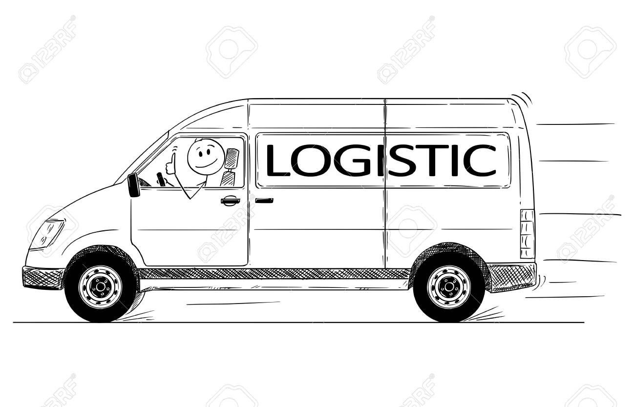 Cartoon Stick Drawing Conceptual Illustration Of Driver Of Fast
