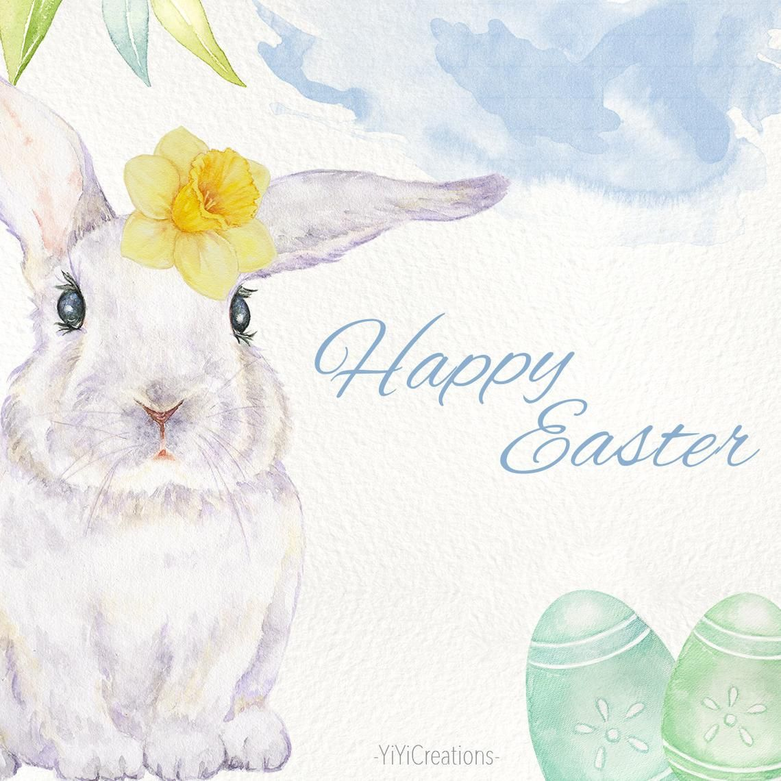 Watercolor Spring Bunny Clipart Easter Rabbit Clip Art Easter