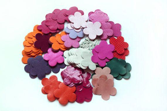 50 pcs Leather Flower 4 cm Die Cuts For FlowersJewelry by PSLavka, $19.90