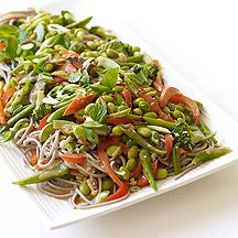 Image of  Soba Noodles with Edamame & Veggies in Peanut Sauce