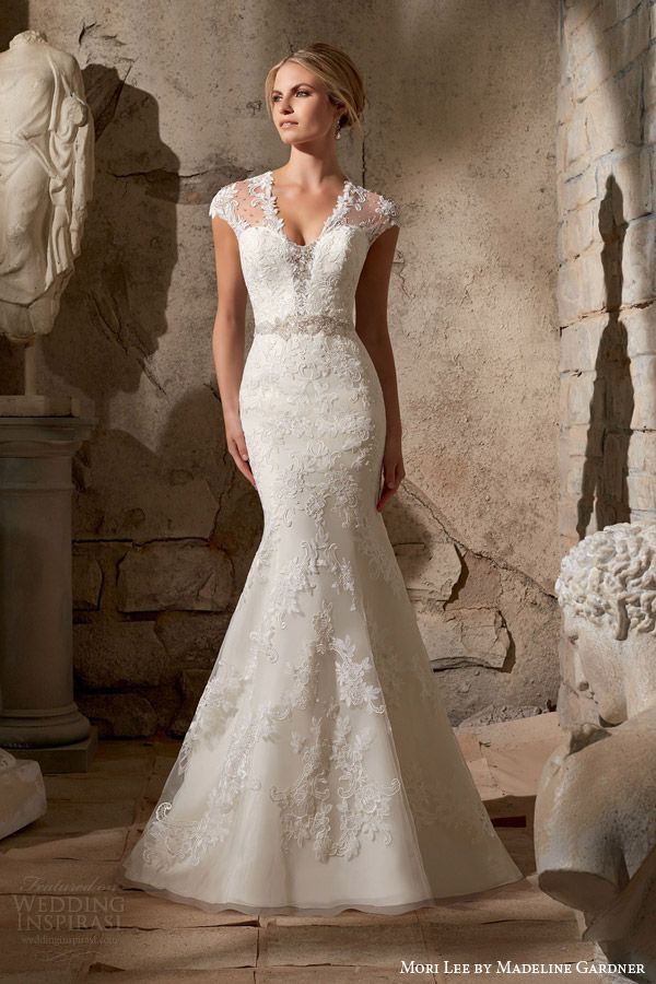 49894a0dde326 mori lee fall 2015 #bridal illusion cap sleeve mermaid #wedding dress  venice lace appliques