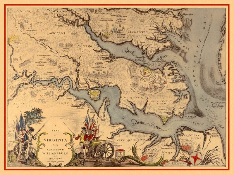 Historical Map Of Virginia 1585 1781 With Williamsburg Jamestown