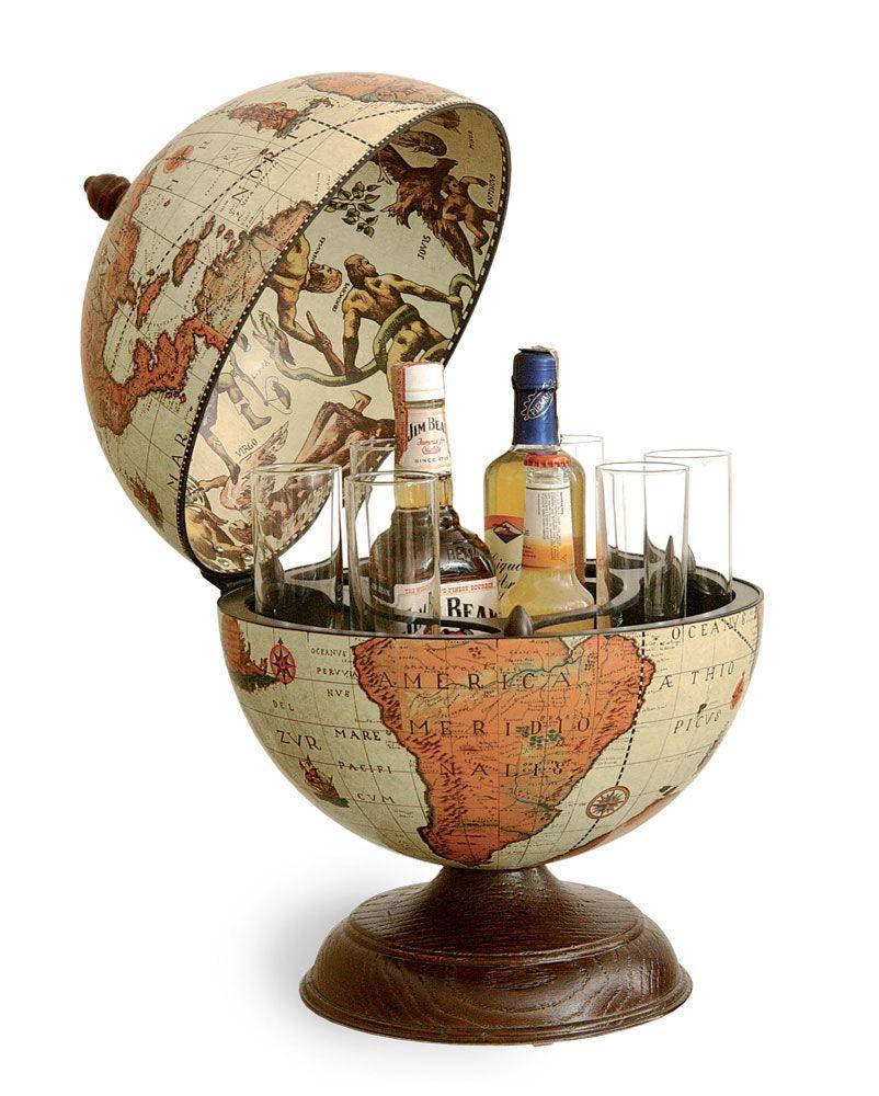 Vintage Table Top Mini Bar Globe Safari Color 13 185 50