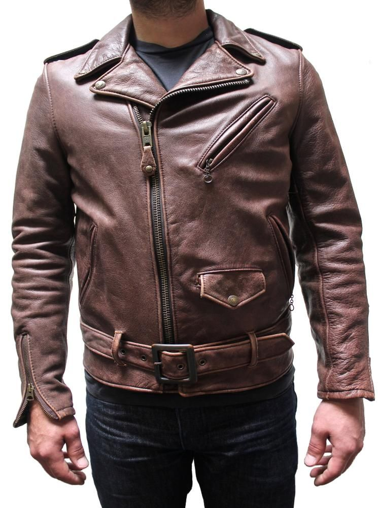 Schott Vintaged Fitted Men's Cowhide Leather Motorcycle Jacket ...