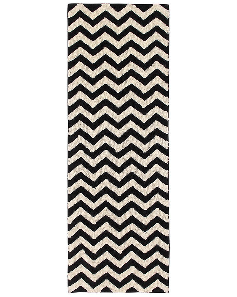 Lorena Canals Machine Washable Runner Rug Black And White Zig Zag 100 Cotton 80cm X 230cm Carpets Rug Runner Washable Rugs