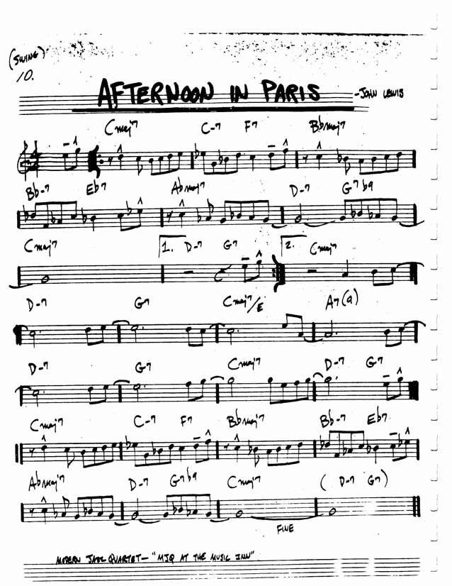 Jazz Standard Realbook Chart Afternoon In Paris Guitar Pinterest
