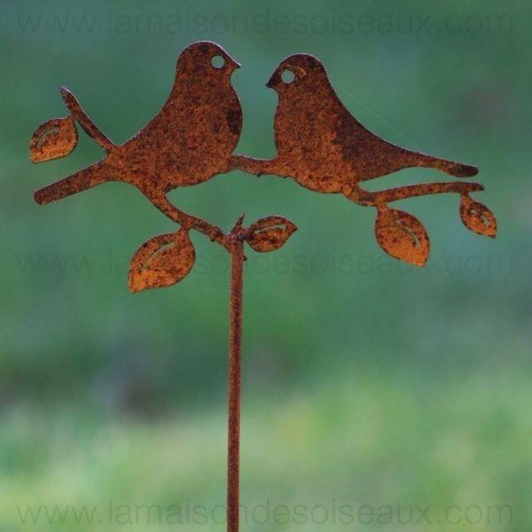 Tuteur silhouette oiseaux en fer patine rouille jardin id es d cos pinterest rouille - Deco jardin fer rouille ...