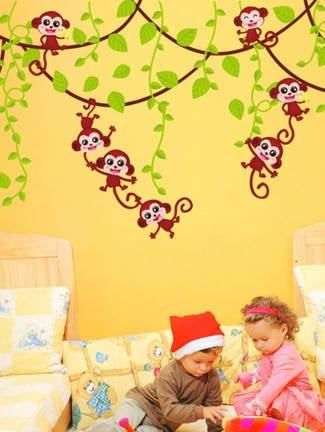 Check Out This Item In My Etsy Shop Httpswwwetsycomuk - Wall decals kids roomcartoon monkey climbing flower vine wall decals kids room nursery